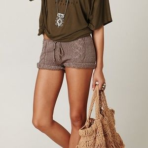Free People Taupe Cable Knit Shorts NEW!